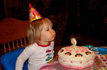 blowing cake