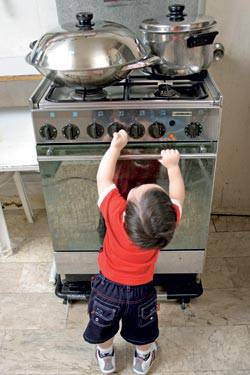 boy near stove