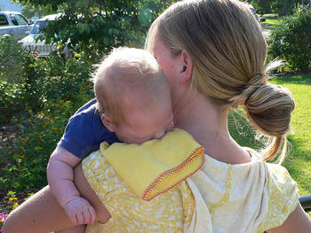 mom baby outdoors
