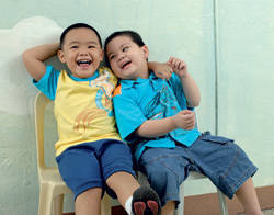 2 boys laughing
