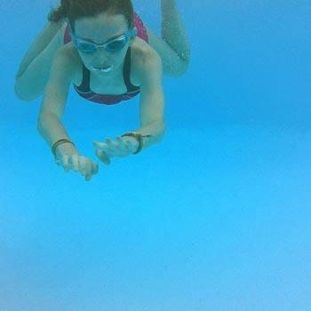 girl swimming pool