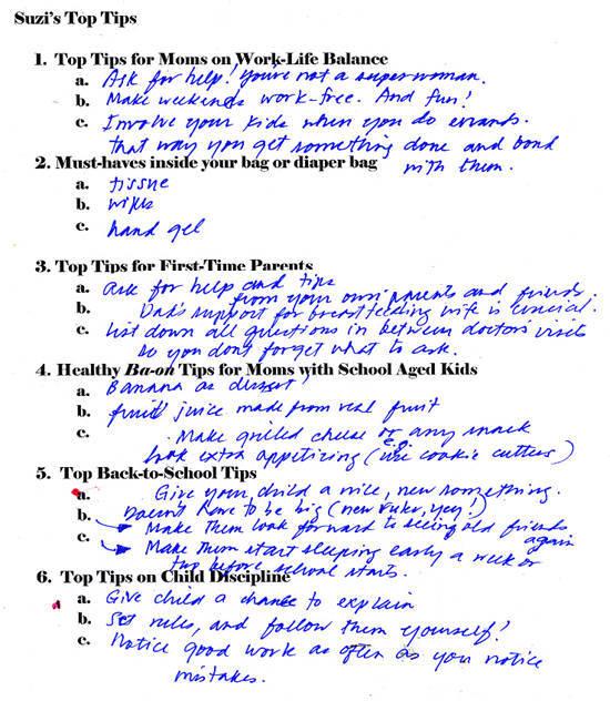 Suzi's questionnaire