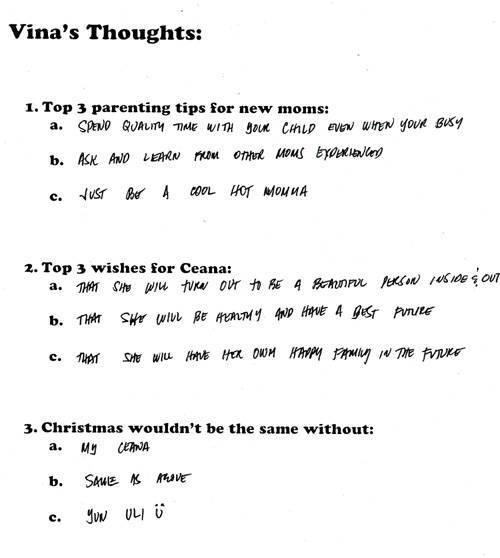 Vina's questionnaire
