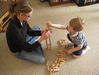 woman kid blocks