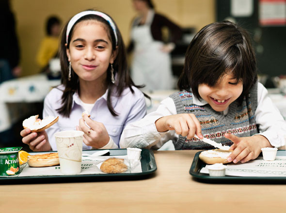 Students having a meal