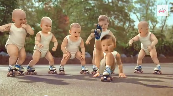 babies on rollerskates