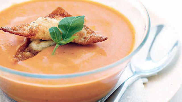 Weekend Recipe: Tomato Soup with Cream Cheese-Basil Dumplings