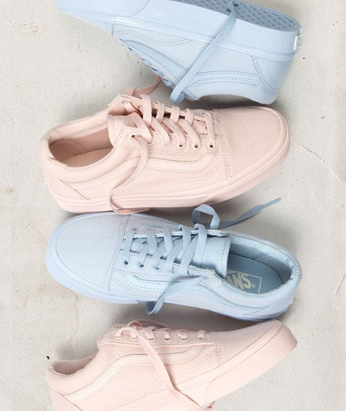Vans Mono Canvas Old Skool Pack Peach Blush And Skyway Blue | SPOT.ph