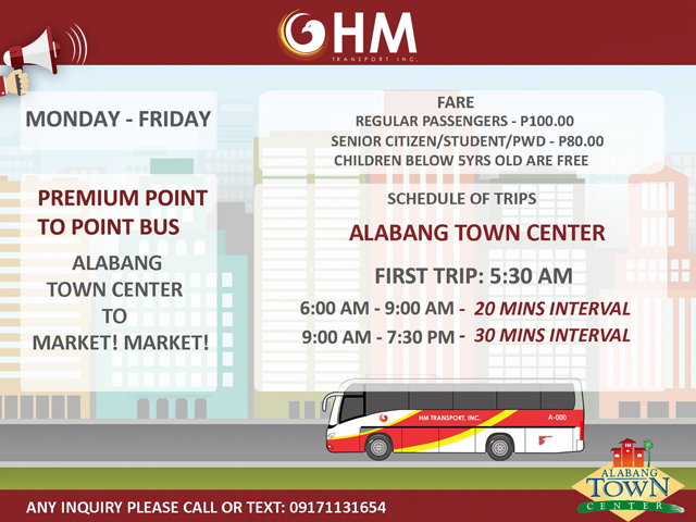 Updated Schedule for Alabang Town Center to Market Market