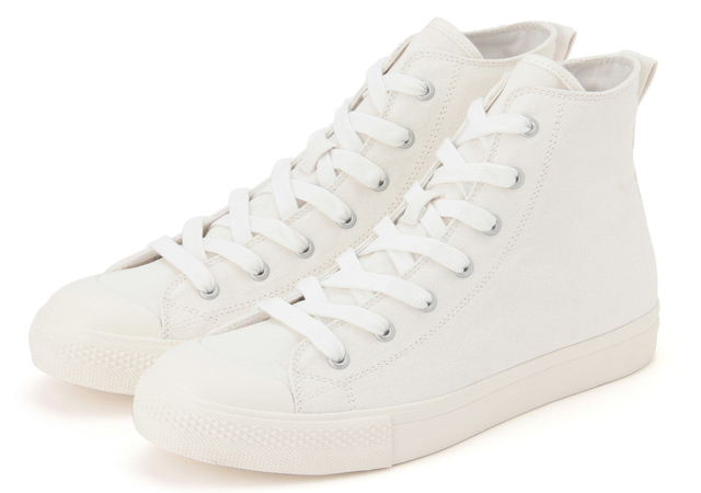 03a713122041 Water-Repellent Organic Cotton High-Cut Sneakers in White (P2