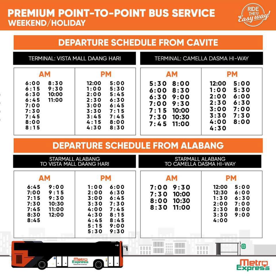 P2p Holiday Bus Schedules For Bonifacio Day November 30