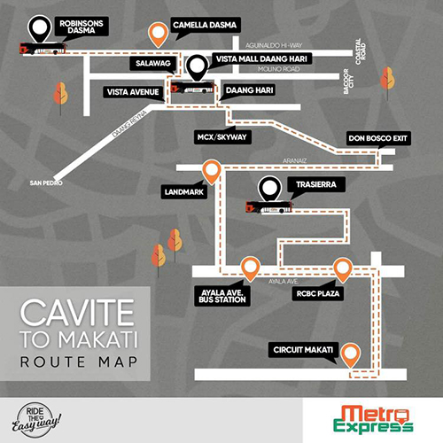 Metro Express P2P Bus Routes From Cavite to Makati