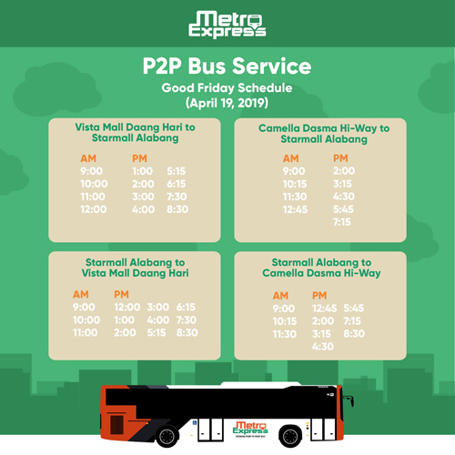 P2P Bus Schedule in Metro Manila From April 18 to 21