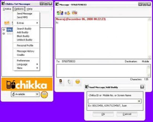 Screenshot of Chikka