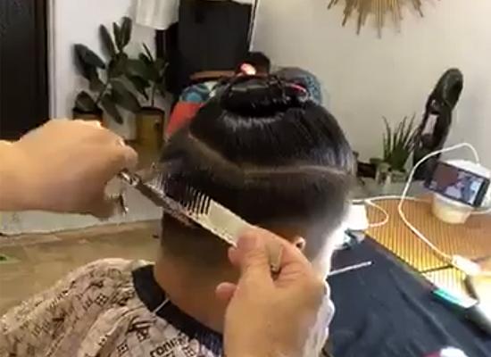 men's haircut scissors over comb technique