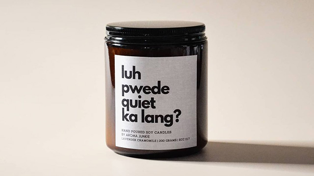 aroma junkie's pinoy humor-inspired mood candle