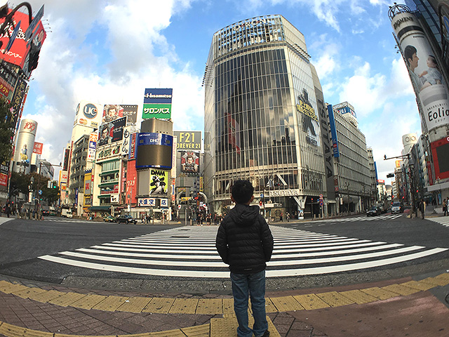 The Shibuya Crossing in real life, in 2016.