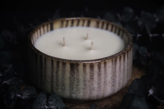 Soy Candle in Stoneware Vessel from Muni Candles