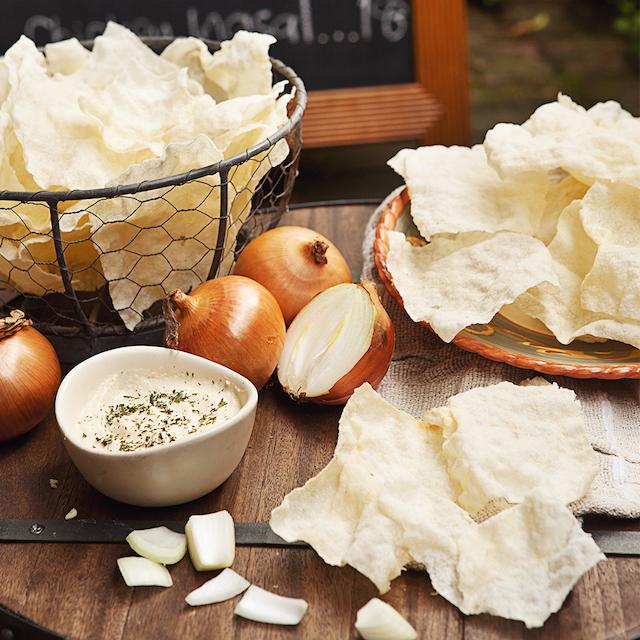 Crispy Cassava Chips with Onion Dip