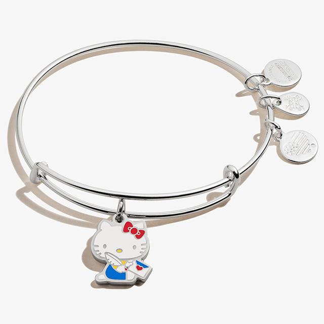 Hello Kitty Valentine Charm Bangle in Shiny Silver