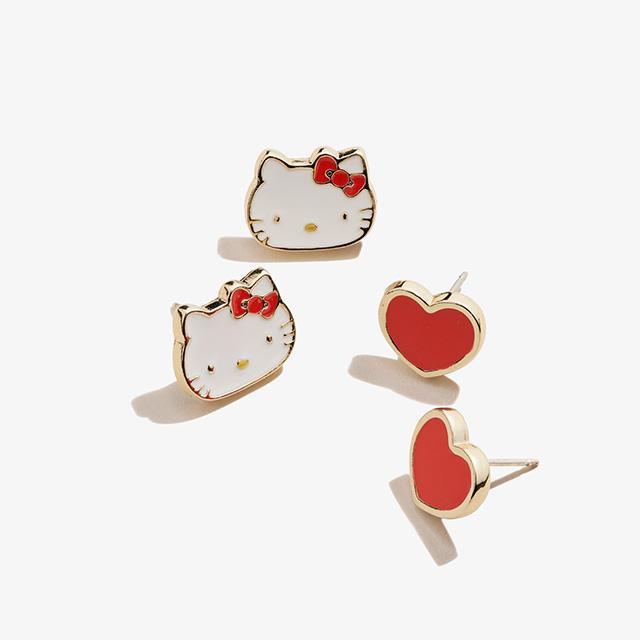 Hello Kitty + Heart Stud Earring Set in Shiny Gold