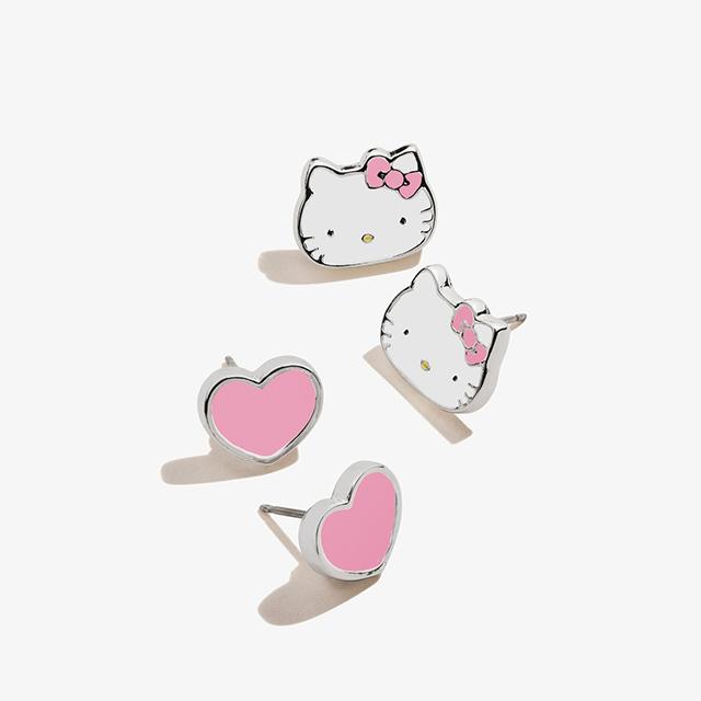 Hello Kitty + Heart Stud Earring Set in Shiny Silver