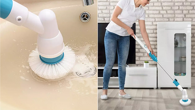 Bathroom cleaning tools: Turbo Spin Scrub Cleaning Brush from My Favor