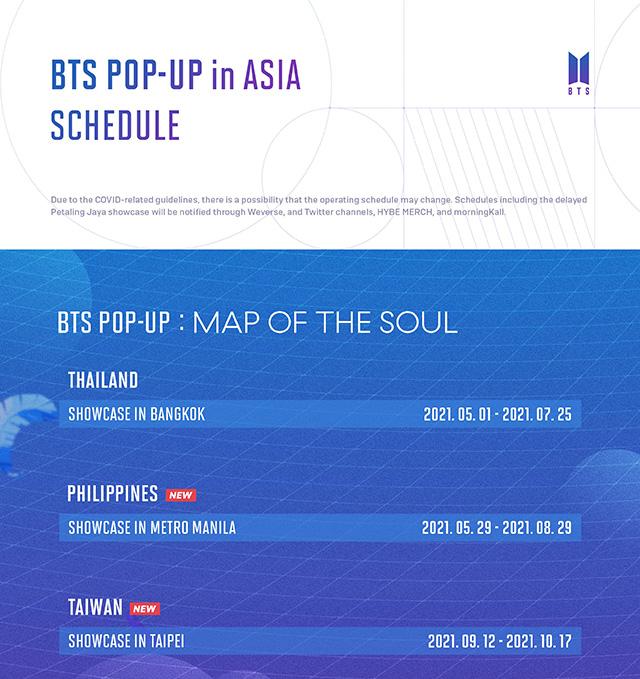 BTS Pop-Up in Asia Schedule
