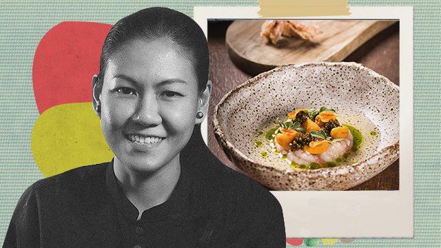 Johanne Siy with her dish  on the background.