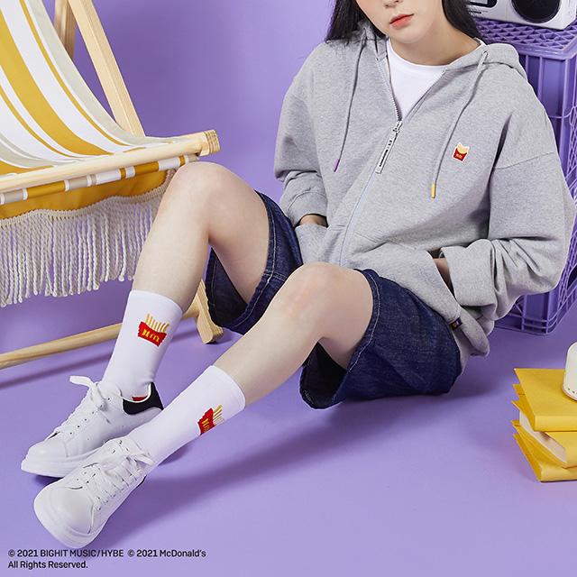 The BTS x McDonald's Robe Themed Socks and Gray Hoodie