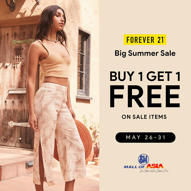 Promotional poster of Forever 21's Buy 1 Get 1 Free Summer Sale.