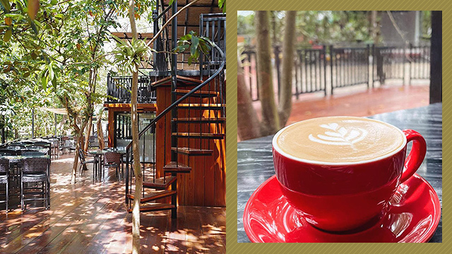 Left: Spiral staircase with an al fresco set up; Right: a mug of Caffè latte at Nimo Brew