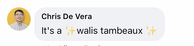 Walis Tambeaux reaction from a Facebook Comment
