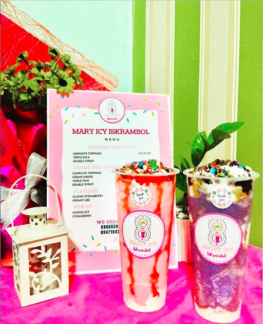 Mary Icy Iskrambol in Classic Strawberry and Creamy Ube