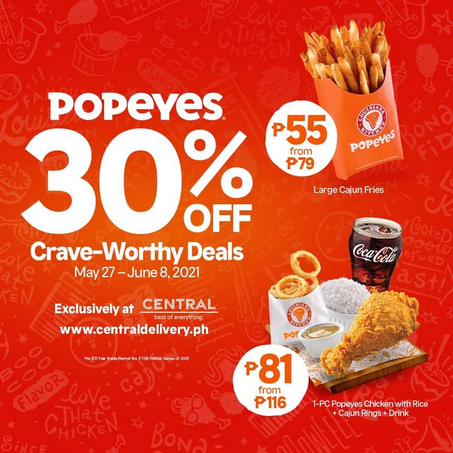 Popeyes 30% off Crave-worthy deals