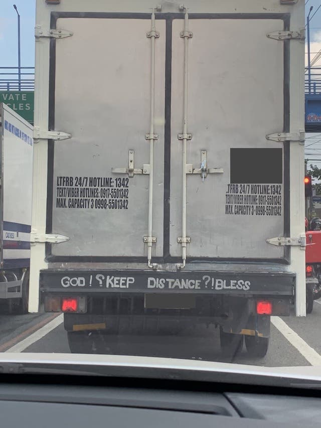 Random Photo of the Week: Truch God Keep Distance Bless message
