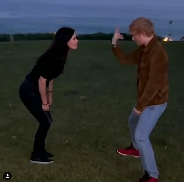 Courteney Cox and Ed Sheeran Friends routine