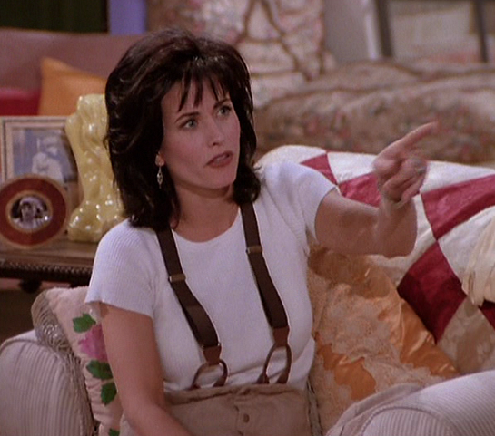 Monica's Brown Suspenders (or Farm Equipment?) from The One Where Monica Gets a Roommate