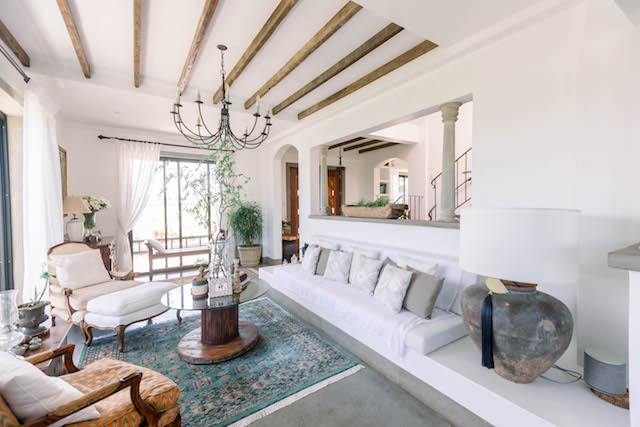 The Presello House living area features a mix of country- and rustic-inspired elements