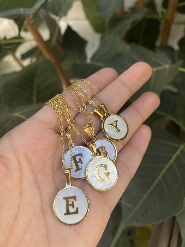 Cebu shopping finds: Mother of Pearl Initial Disc Necklace from Pisces Jewelry