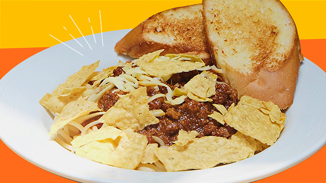 Pancake House spaghetti nachos