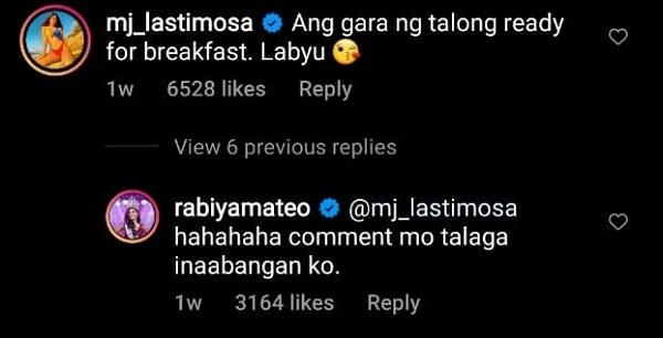 MJ Lastimosa's Hilarious Comments on Rabiya Mateo's Instagram