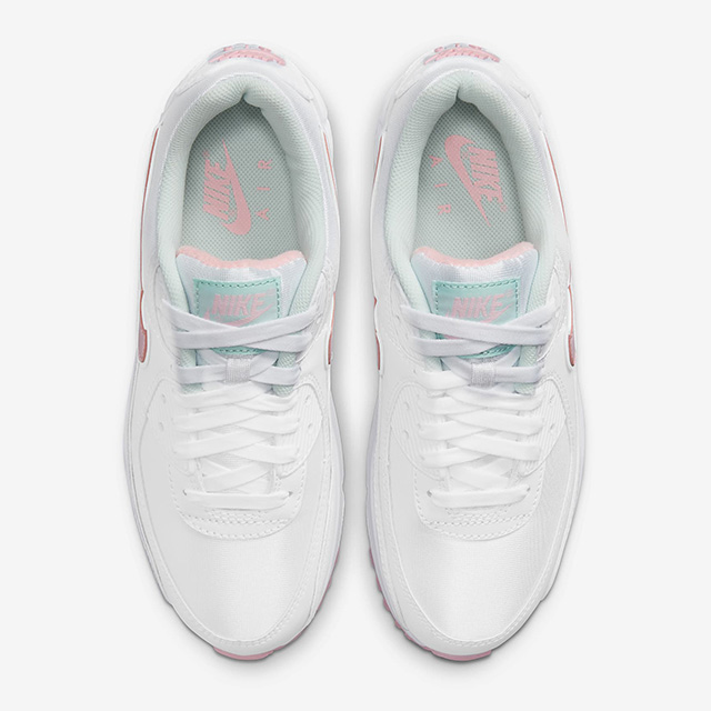 sleek white Nike Air Max 90 with pastel pink and blue accents