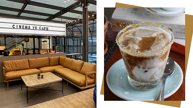 Cinema '76 Cafe and Iced Coconut Latte from Cube Coffee