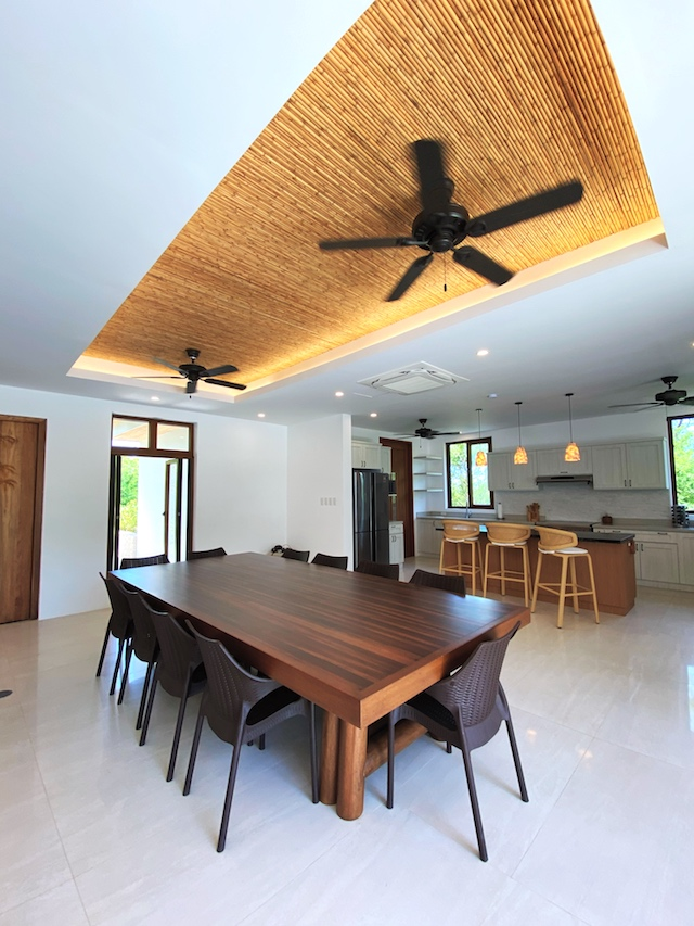 Presello House: Balai Tropicale dining table is refurbished from a bowling lane