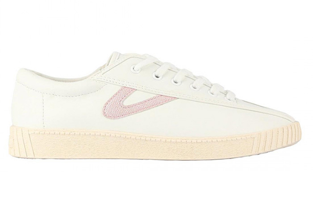 white sneakers with pink accents
