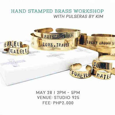 Handstamped Brass Workshop with Pulseras by Kim