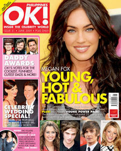 Megan Fox replaces Ok! staple cover girl Angelina Jolie in the June '09 issue