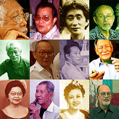 National Artists All: Ramon Obusan(Dance), Lino Brocka(Cinema), Ishmael Bernal (Cinema), Napoleon Abueva(Sculpture), Ang Kiukok(Painting), Arturo Luz (Painting), Carlos