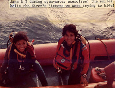 Lola Techie (right) during her scuba diving days. Caption reads: